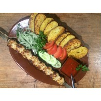 Люля-кебаб куриный с картофелем на мангале